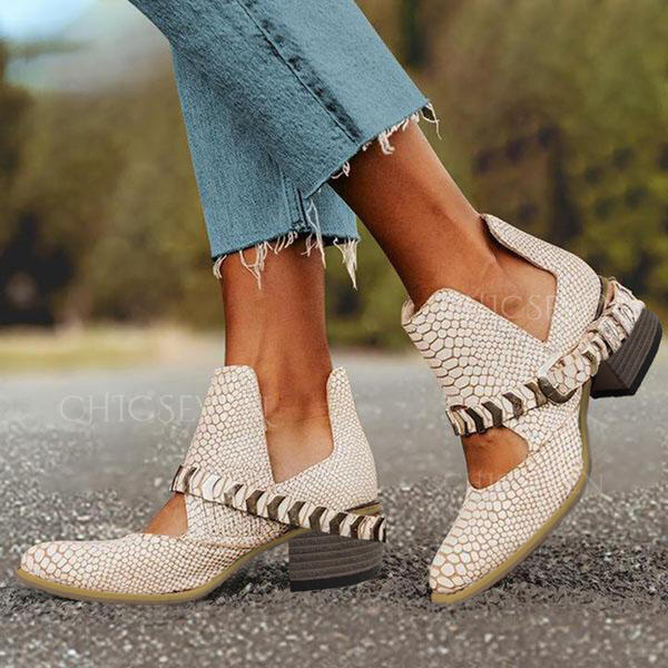 Women's PU Chunky Heel Boots Low Top Round Toe With Buckle Animal Print shoes