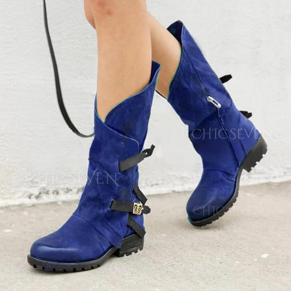 Women's PU Low Heel Boots Mid-Calf Boots With Buckle Zipper shoes  (088279875) - Boots - #279875 chicseven