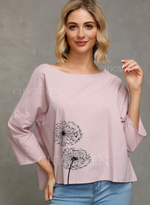 Print Round Neck 3/4 Sleeves Casual Blouses