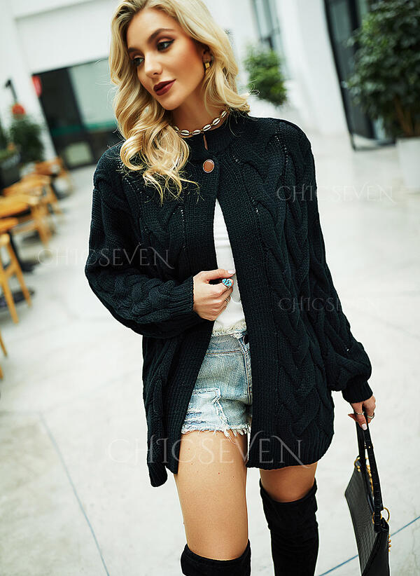 Solid Cable-knit Chunky knit Casual Long Cardigan