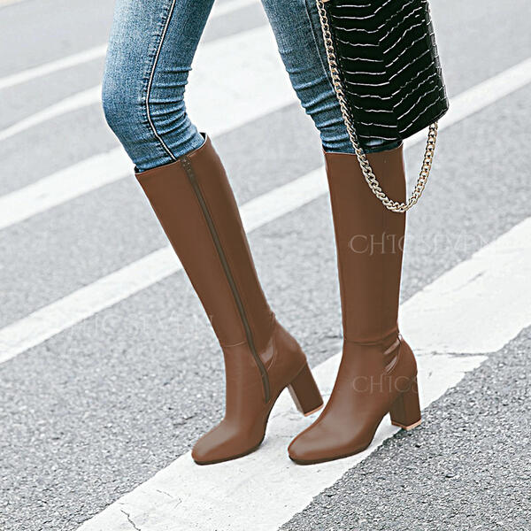 Women's PU Chunky Heel Knee High Boots Round Toe With Solid Color shoes
