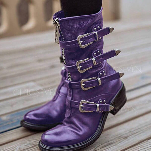 Women's PU Chunky Heel Mid-Calf Boots Round Toe With Buckle Lace-up shoes