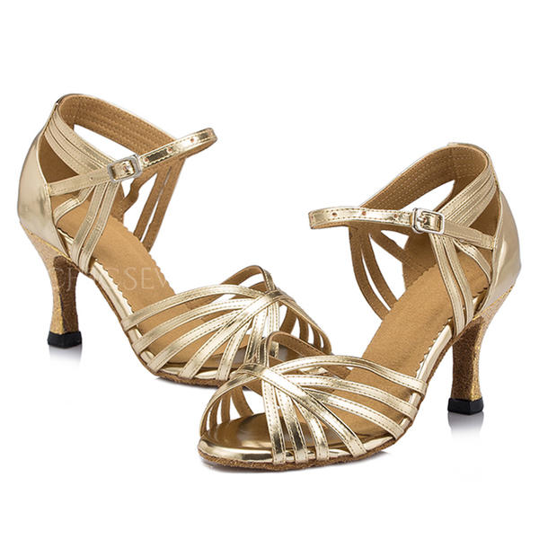 Women's Latin Heels Sandals Patent Leather With Ankle Strap Latin