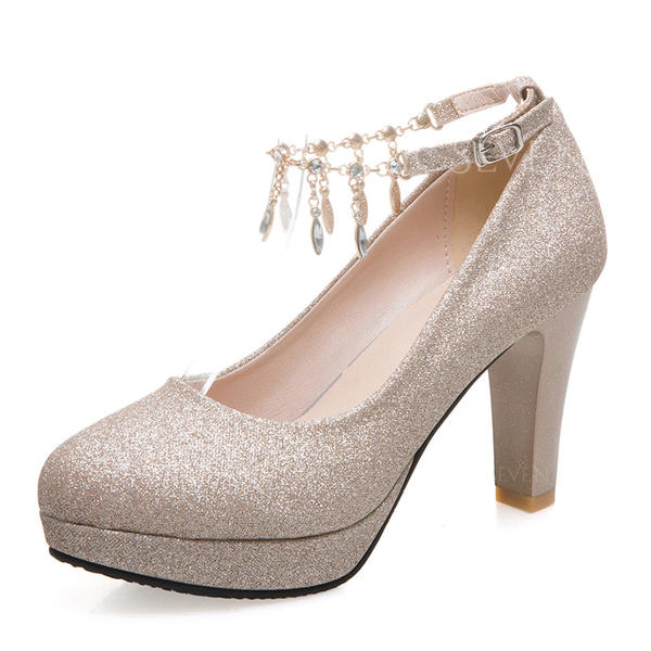 Women's Sparkling Glitter Chunky Heel Pumps Platform Closed Toe With Rhinestone Tassel shoes