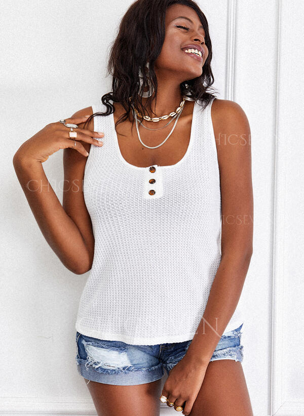 Solid Square Collar Sleeveless Tank Tops