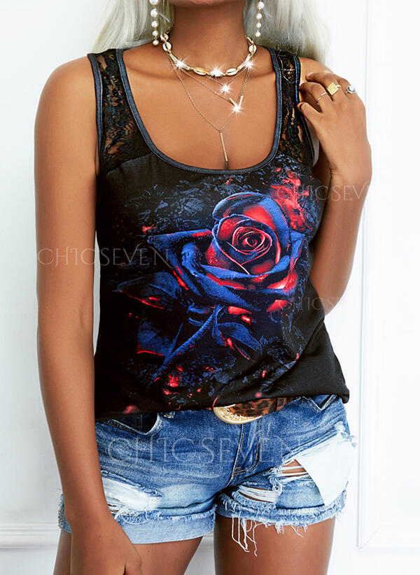 Floral Print Lace Round Neck Sleeveless Tank Tops
