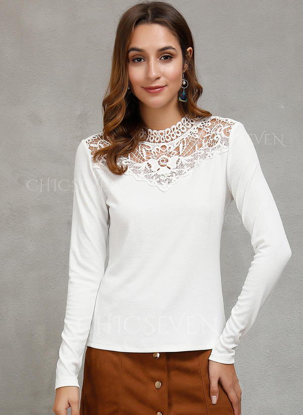 Solid Lace Round Neck Long Sleeves Casual Sexy Knit Blouses