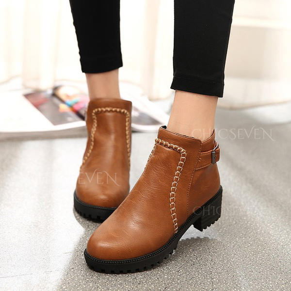 Women's PU Chunky Heel Ankle Boots Martin Boots With Buckle Zipper shoes