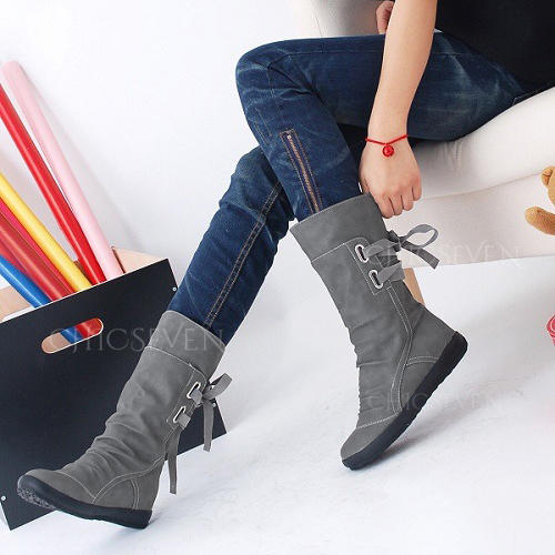 Women's PU Wedge Heel Mid-Calf Boots With Lace-up shoes