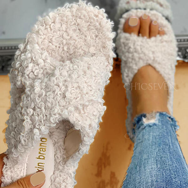 Women's Fabric Flat Heel Peep Toe Slippers With Faux-Fur Others shoes