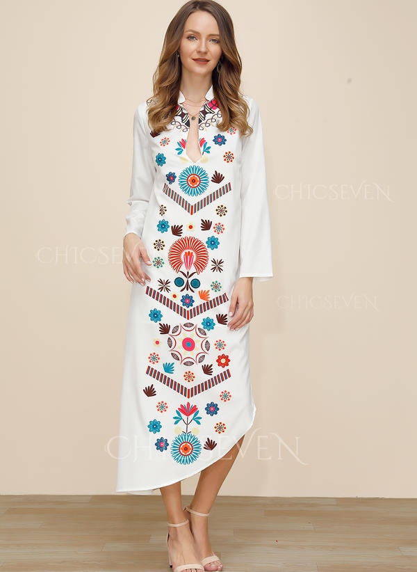 Print/Floral Long Sleeves Shift Tunic Casual/Boho/Vacation Maxi Dresses