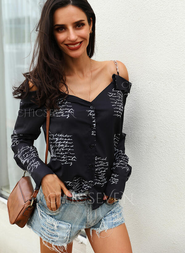 Print Cold Shoulder Long Sleeves Button Up Casual Blouses