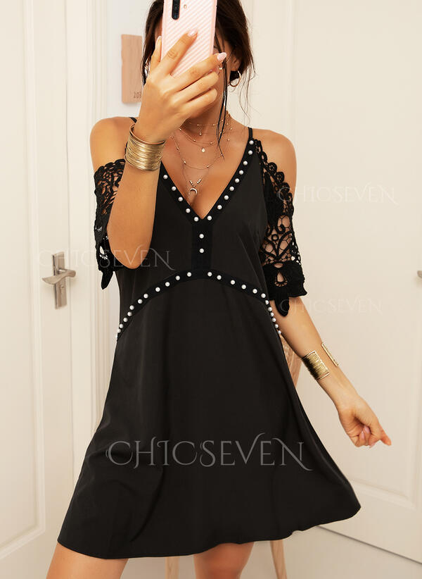 Lace/Solid 1/2 Sleeves/Cold Shoulder Sleeve Shift Above Knee Casual Dresses