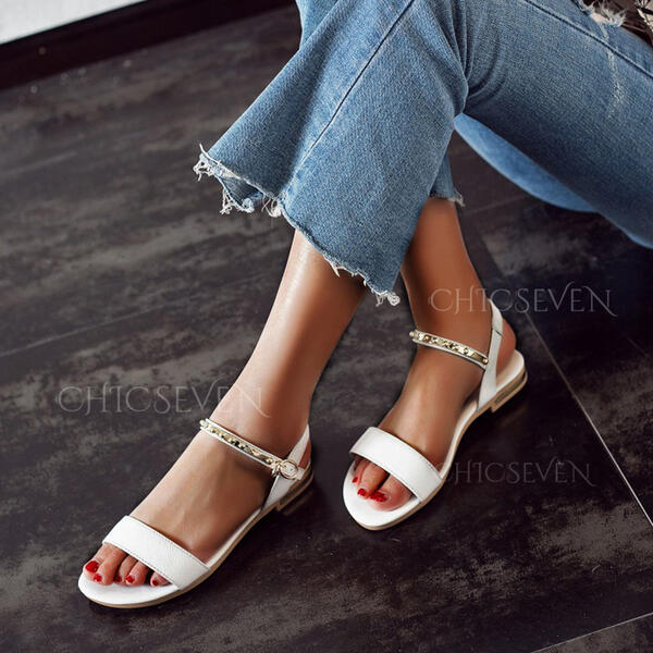 Women's Leatherette Flat Heel Sandals Peep Toe With Buckle shoes