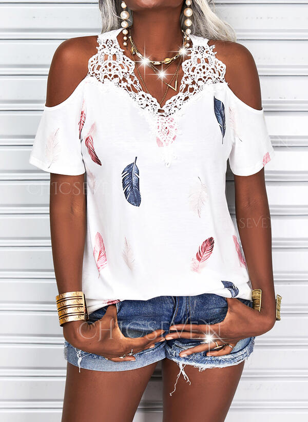Print Feather Lace Cold Shoulder Short Sleeves Casual Blouses