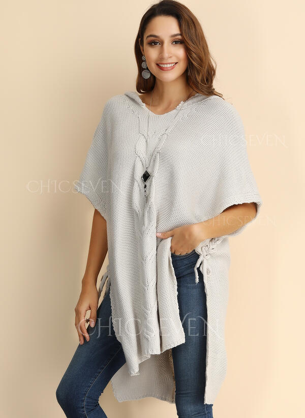 Solid Cable-knit Chunky knit Hooded Casual Sweater Dress