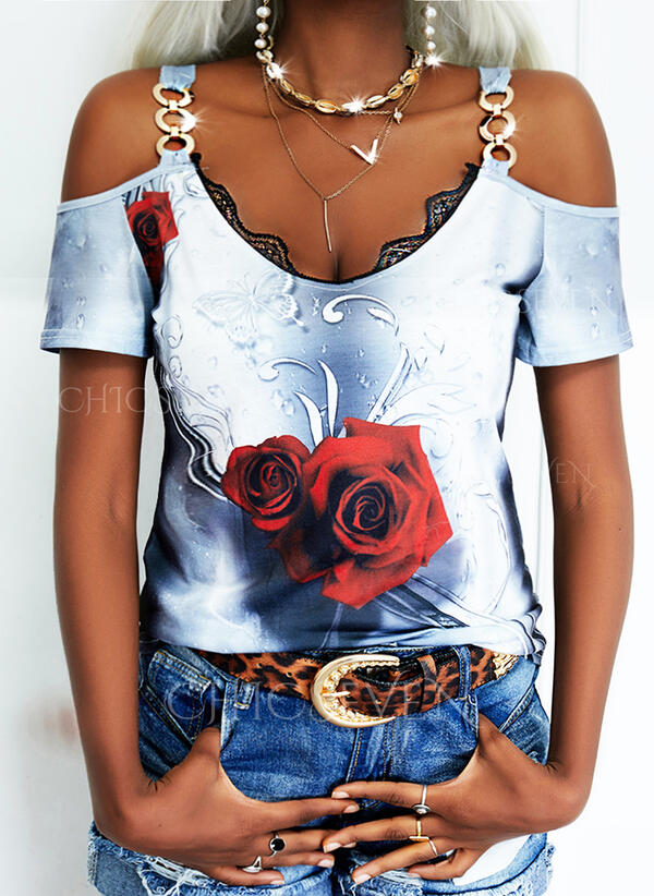 Floral Animal Print Lace Cold Shoulder Short Sleeves Casual Blouses