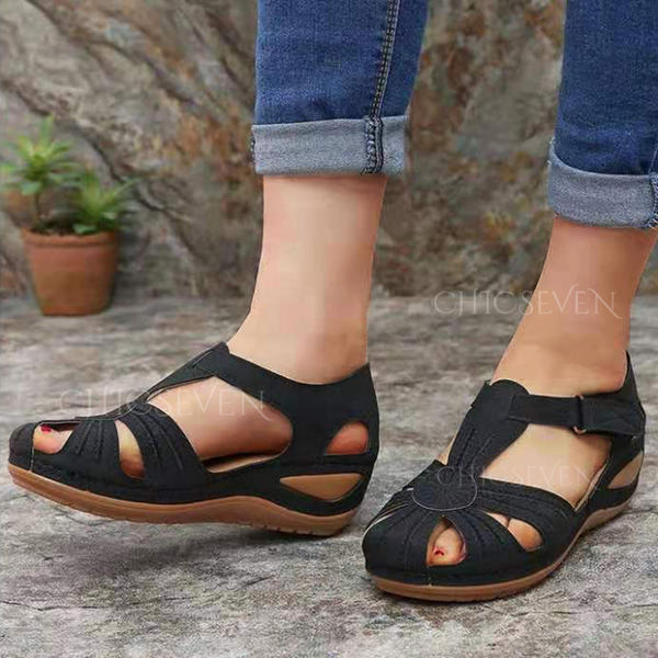 Women's PU Chunky Heel Sandals With Velcro shoes
