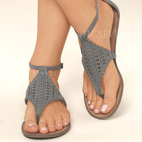 PU Flat Heel Sandals Flats Peep Toe Flip-Flops With Hollow-out shoes