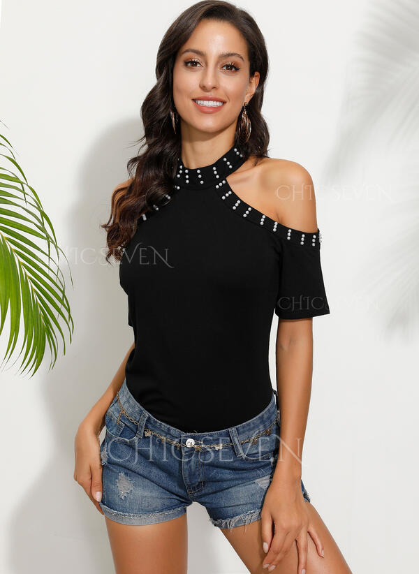 Solid Cold Shoulder Short Sleeves Casual Knit Blouses