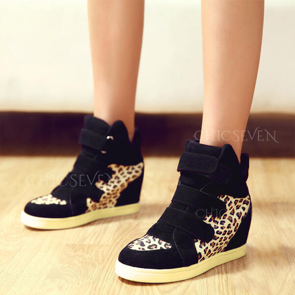 Women's Canvas Chunky Heel Ankle Boots Round Toe With Velcro Splice Color shoes