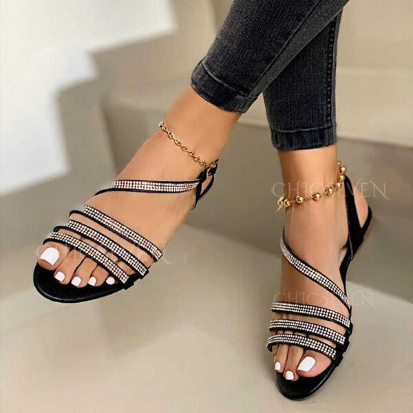 Women's Leatherette Sparkling Glitter Flat Heel Sandals Flats Peep Toe Slingbacks With Rhinestone Buckle Hollow-out shoes