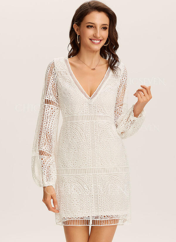 Lace/Solid Long Sleeves Shift Knee Length Casual/Vacation Dresses