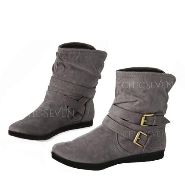 Women's Leatherette Flat Heel Flats Boots Ankle Boots With Buckle shoes
