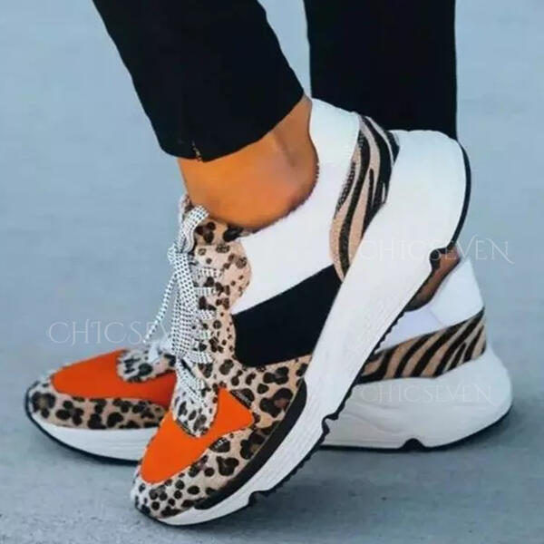 Women's PU Others Flats Round Toe Sneakers With Animal Print Lace-up Print shoes