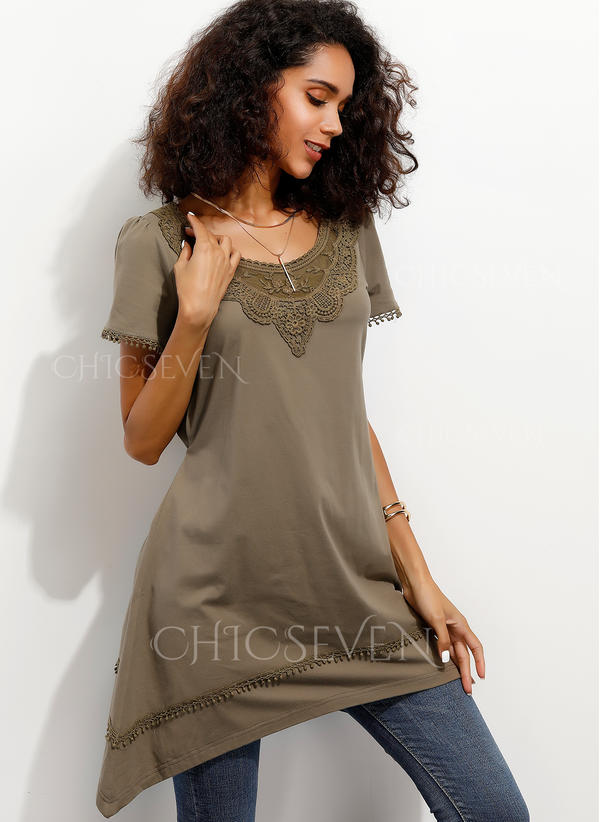 Lace Round Neck Short Sleeves Casual Blouses