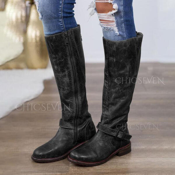 Women's PU Low Heel Boots Knee High Boots With Zipper shoes
