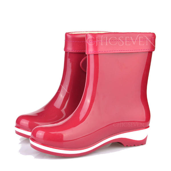 Women's PVC Chunky Heel Boots Rain Boots Round Toe With Colorblock shoes