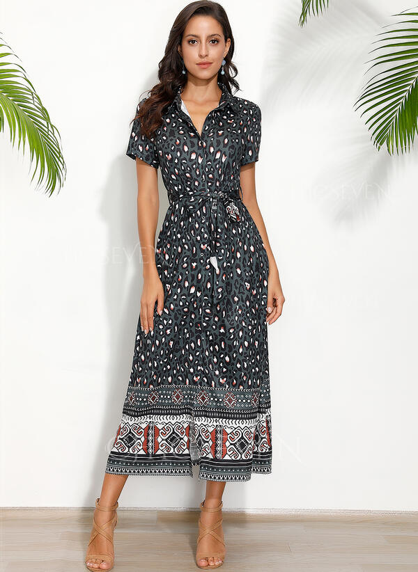 Print/Leopard Short Sleeves A-line Skater Casual/Boho/Vacation Maxi Dresses