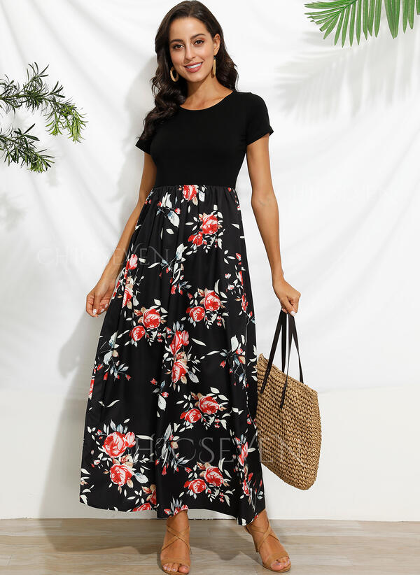 Print/Floral Short Sleeves A-line Casual Maxi Dresses
