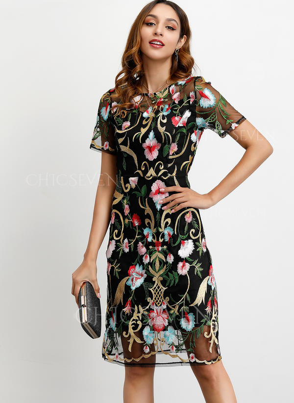 Embroidery/Floral Short Sleeves Sheath Knee Length Party/Elegant Dresses