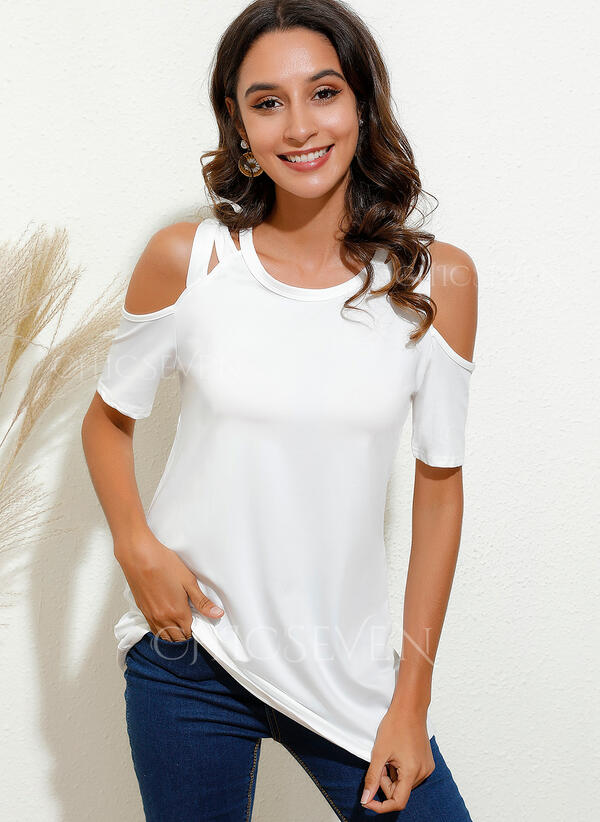 Solid Cold Shoulder 1/2 Sleeves Casual Blouses