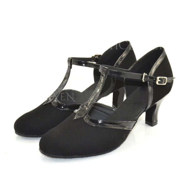 Women's Ballroom Heels Pumps Leatherette Suede With T-Strap Modern