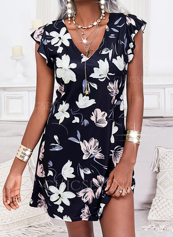 Print/Floral Short Sleeves Small Flying Sleeve Shift Knee Length Casual/Vacation Dresses