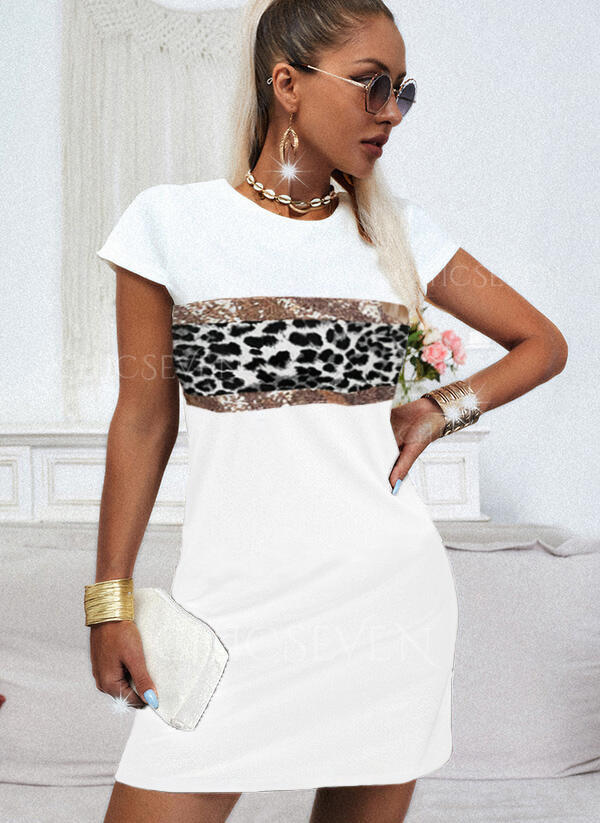 Sequins/Leopard Short Sleeves Shift Above Knee Casual T-shirt Dresses