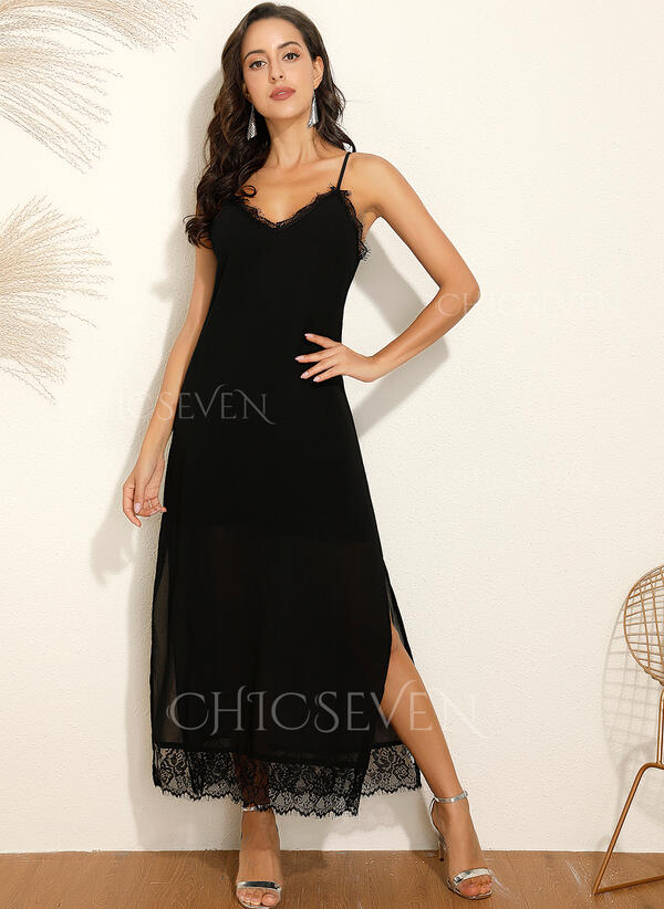 Lace/Solid Sleeveless Shift Slip Little Black/Casual/Vacation Maxi Dresses