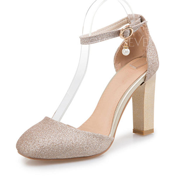 Women's Sparkling Glitter Chunky Heel Sandals Pumps Closed Toe With Buckle shoes