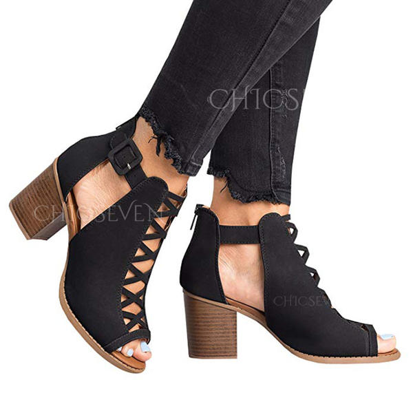 Women's PU Chunky Heel Sandals Pumps Peep Toe Heels With Hollow-out shoes