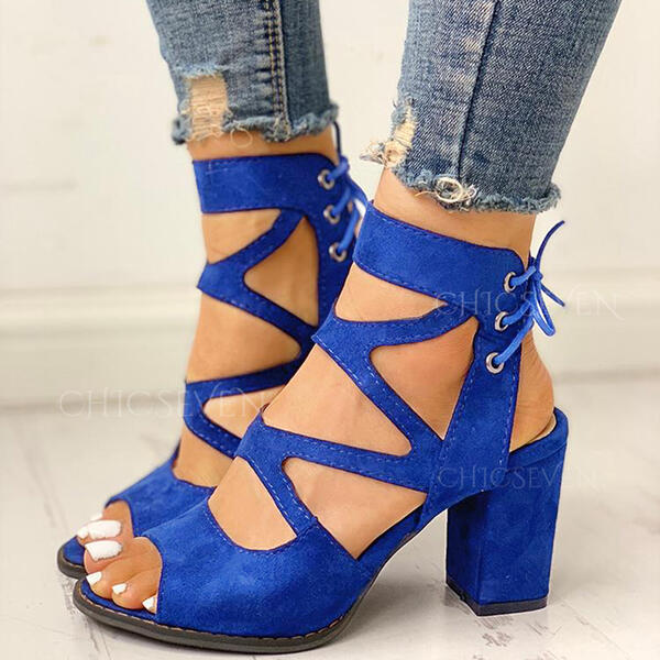 Women's Suede Chunky Heel Sandals Peep Toe With Lace-up shoes
