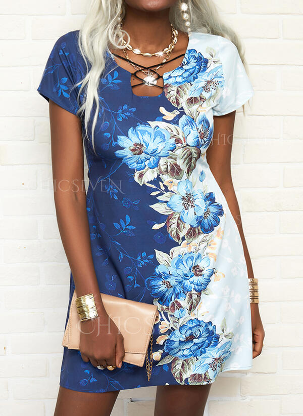 Print/Floral/Color Block Short Sleeves A-line Above Knee Casual/Vacation Skater Dresses