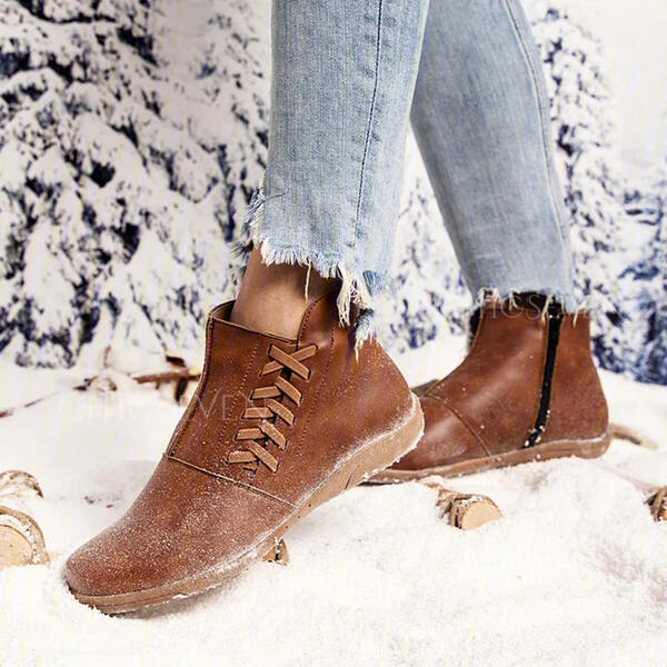 Women's PU Flat Heel Ankle Boots Snow Boots Round Toe Winter Boots With Lace-up shoes