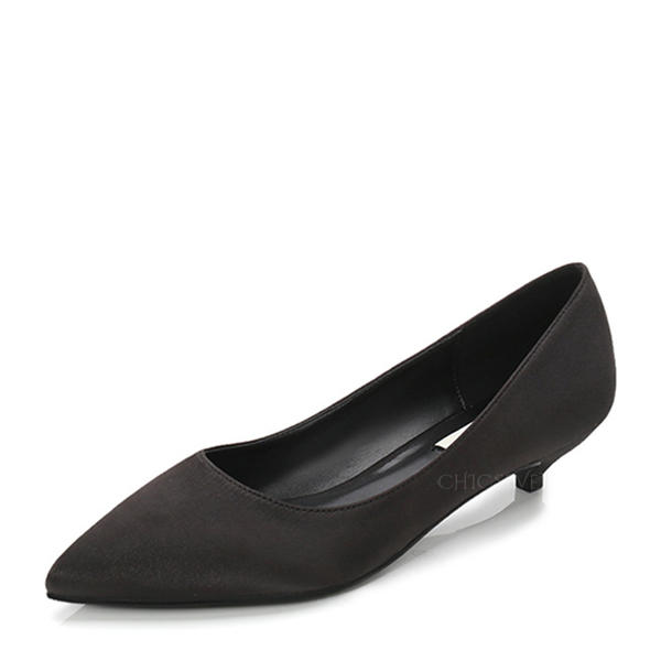 Women's Satin Low Heel Pumps Closed Toe With Others shoes