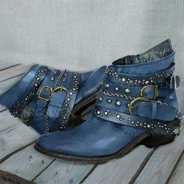 Women's PU Chunky Heel Boots Martin Boots Round Toe With Rivet Solid Color shoes