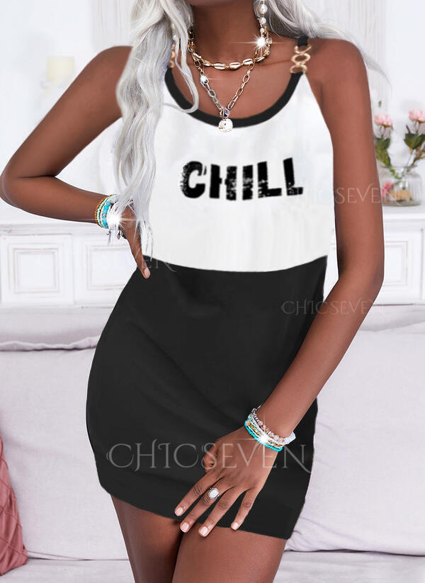 Print/Color Block/Letter Sleeveless Shift Above Knee Casual Dresses