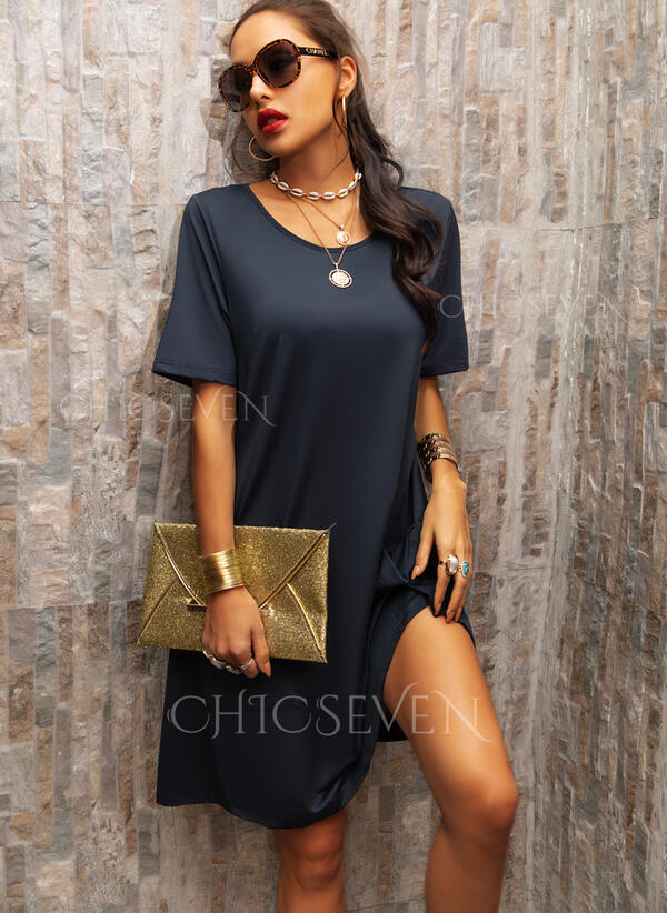 Solid Short Sleeves Shift Knee Length Casual Tunic Dresses
