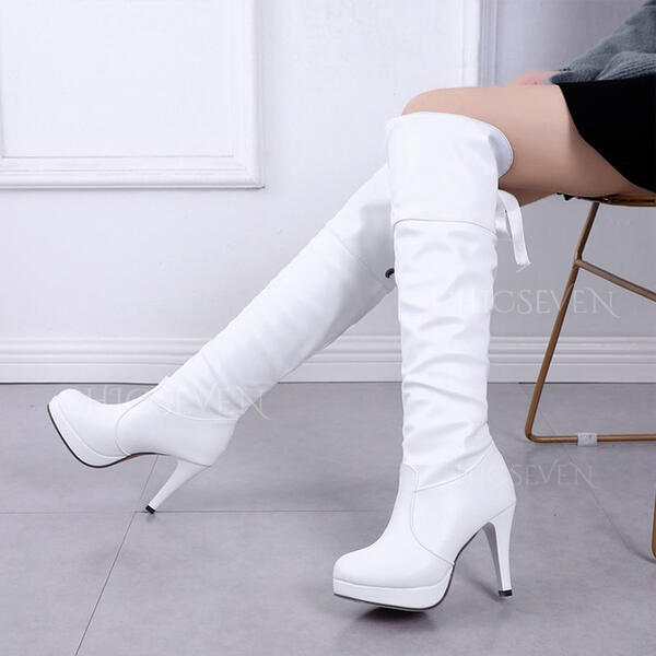 Women's PU Stiletto Heel Over The Knee Boots Round Toe With Lace-up Solid Color shoes